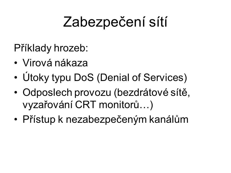 Zabezpečení sítí Příklady hrozeb: Virová nákaza