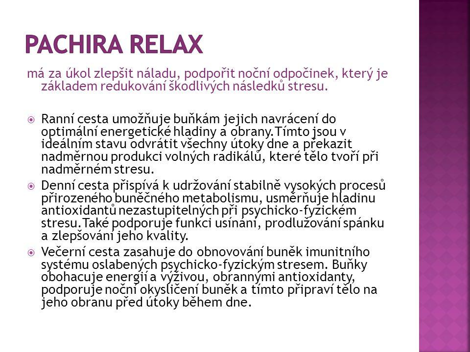 Pachira Relax má za úkol zlepšit náladu, podpořit noční odpočinek, který je základem redukování škodlivých následků stresu.