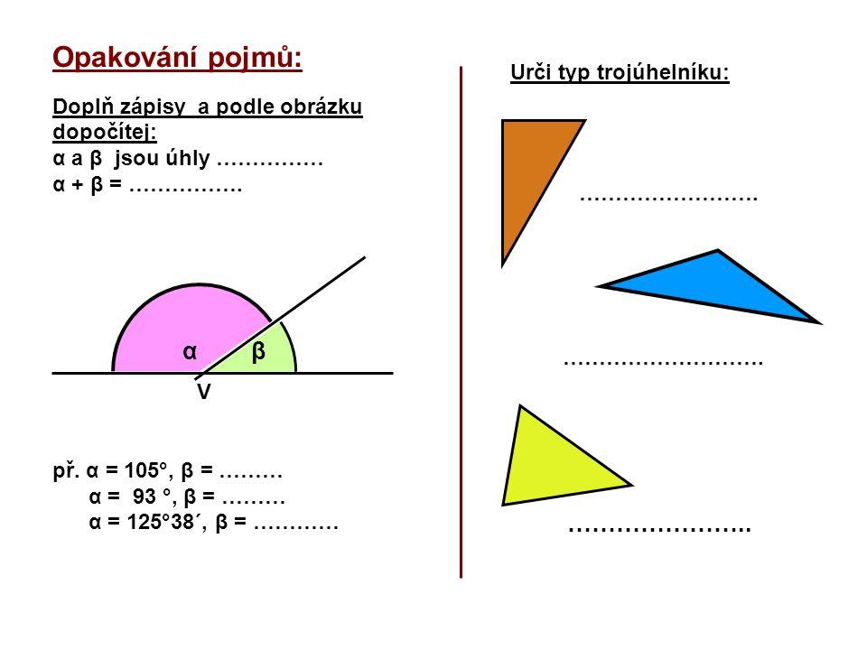 Opakování pojmů: α β Urči typ trojúhelníku: