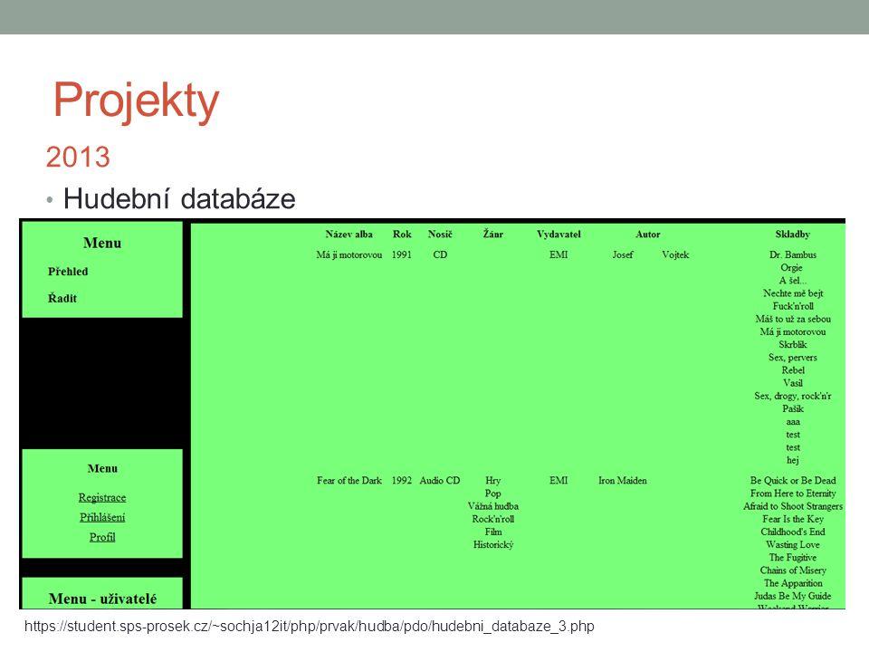 Projekty 2013 Hudební databáze