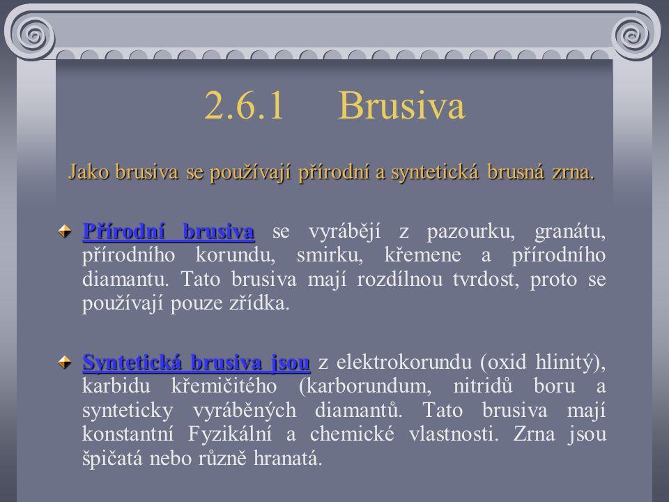 Jako brusiva se používají přírodní a syntetická brusná zrna.
