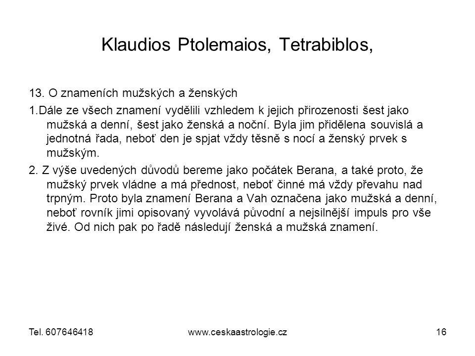 Klaudios Ptolemaios, Tetrabiblos,