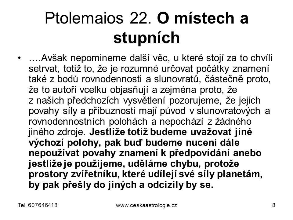 Ptolemaios 22. O místech a stupních