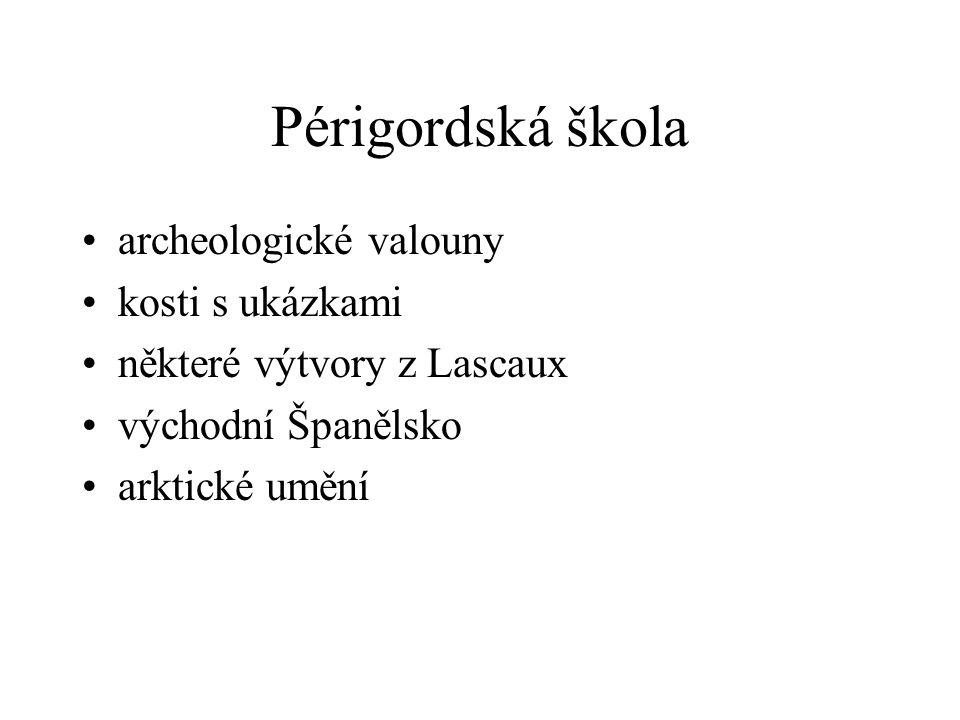 Périgordská škola archeologické valouny kosti s ukázkami