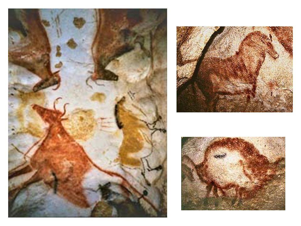 Strop: červený bison; Lascaux červený kůň, červený bison : kroucená perspektiva