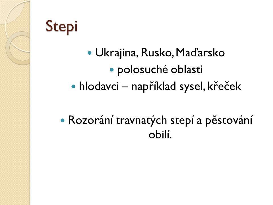 Stepi Ukrajina, Rusko, Maďarsko polosuché oblasti
