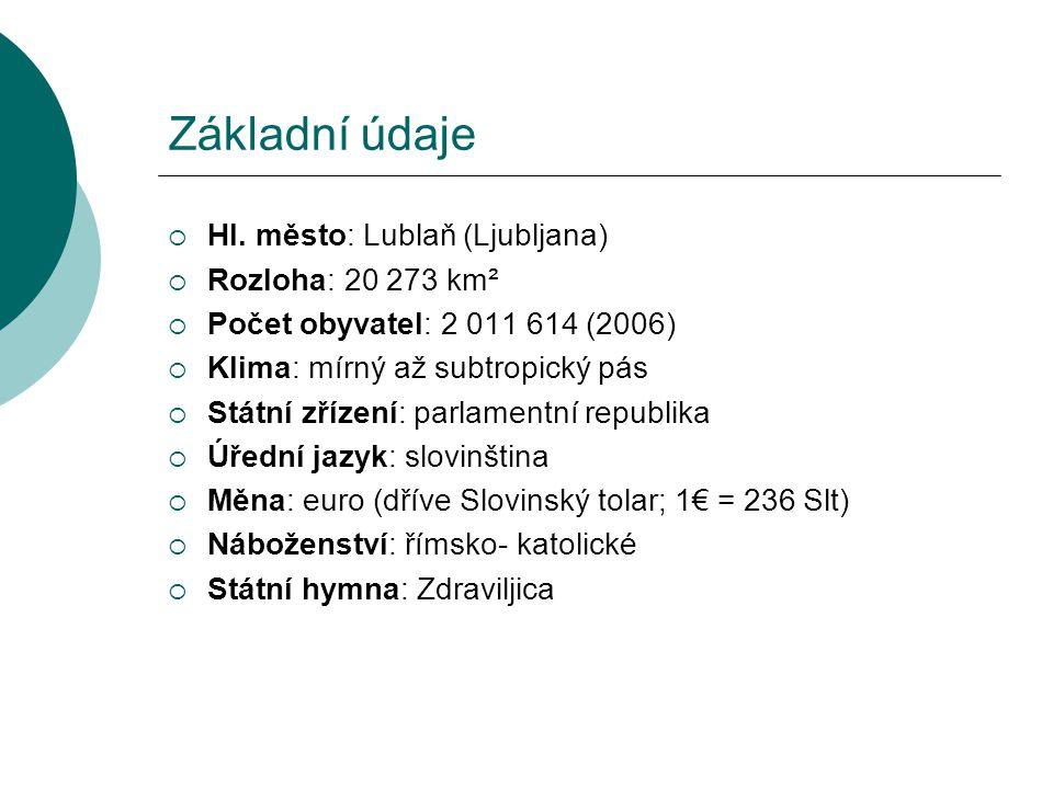 Základní údaje Hl. město: Lublaň (Ljubljana) Rozloha: 20 273 km²