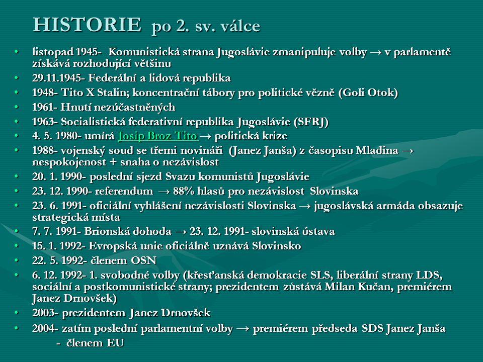 HISTORIE po 2. sv. válce listopad 1945- Komunistická strana Jugoslávie zmanipuluje volby → v parlamentě získává rozhodující většinu.