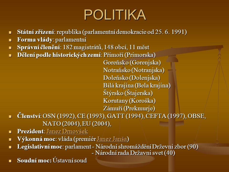 POLITIKA Státní zřízení: republika (parlamentní demokracie od 25. 6. 1991) Forma vlády: parlamentní.