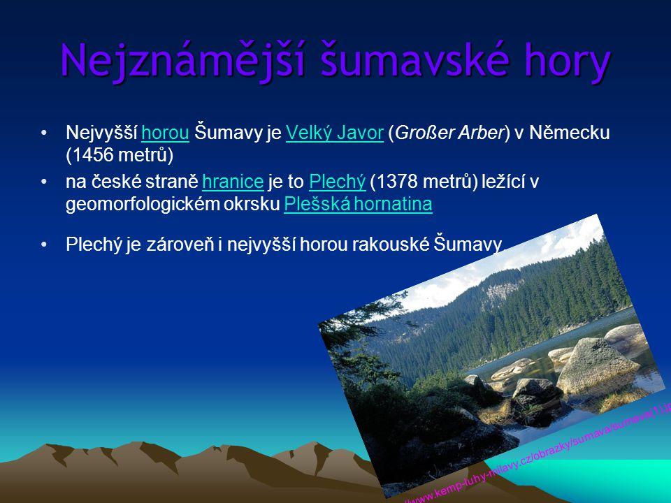 Nejznámější šumavské hory