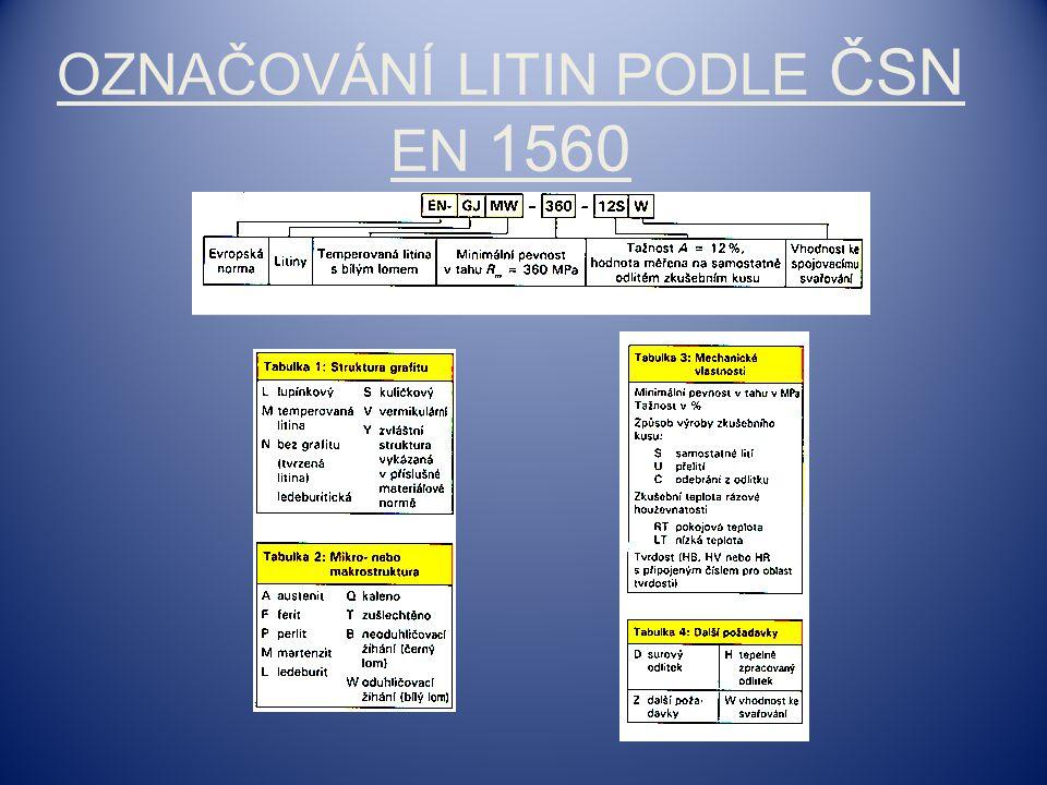 Označování litin podle ČSN EN 1560