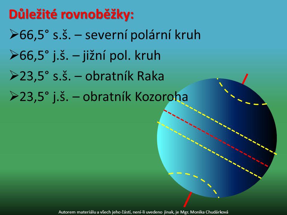 66,5° s.š. – severní polární kruh 66,5° j.š. – jižní pol. kruh