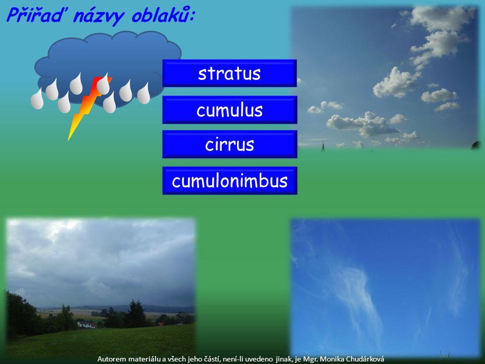 Přiřaď názvy oblaků: stratus cumulus cirrus cumulonimbus