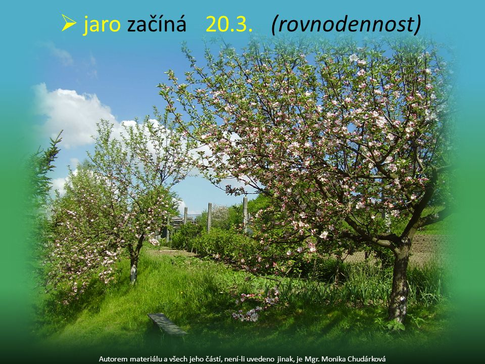 jaro začíná 20.3. (rovnodennost)