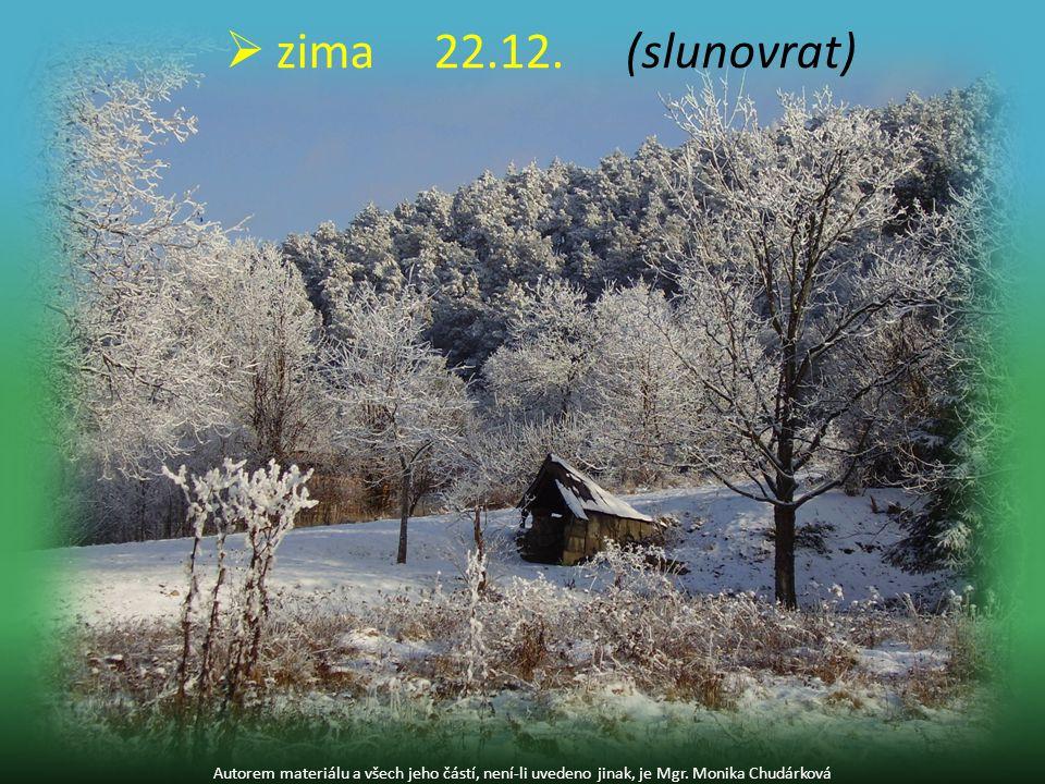 zima 22.12. (slunovrat) Autorem materiálu a všech jeho částí, není-li uvedeno jinak, je Mgr.