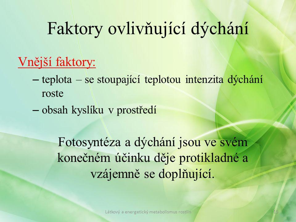 Faktory ovlivňující dýchání