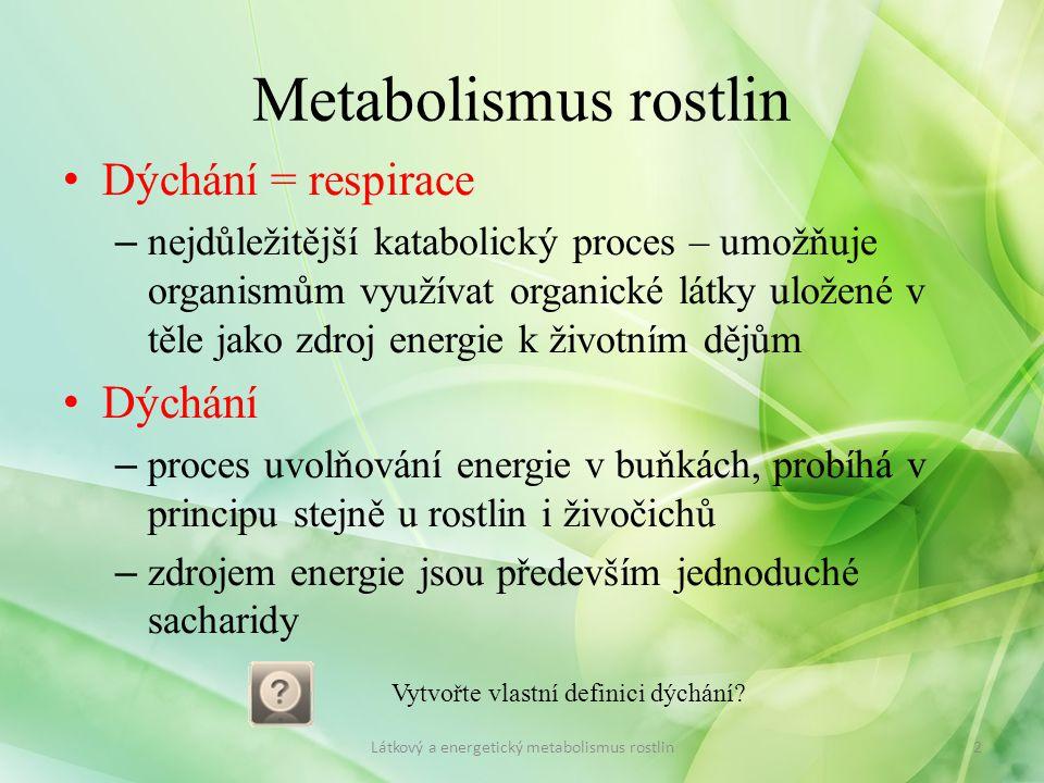 Metabolismus rostlin Dýchání = respirace Dýchání