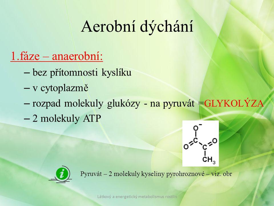 Aerobní dýchání 1.fáze – anaerobní: bez přítomnosti kyslíku