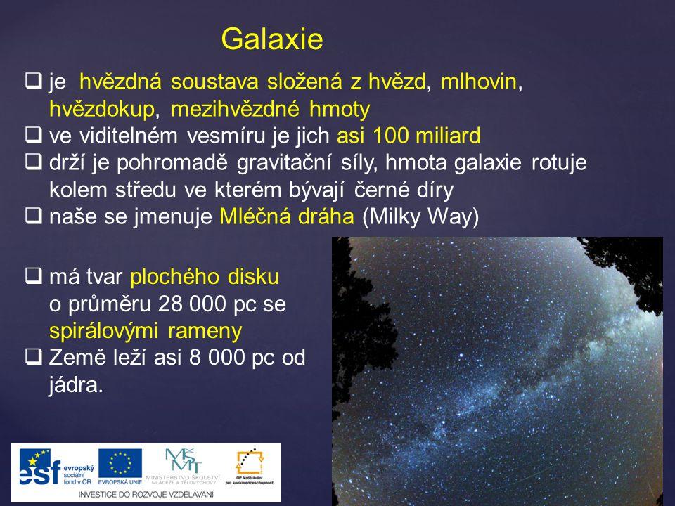 Galaxie je hvězdná soustava složená z hvězd, mlhovin, hvězdokup, mezihvězdné hmoty. ve viditelném vesmíru je jich asi 100 miliard.
