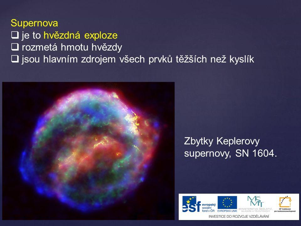 Supernova je to hvězdná exploze. rozmetá hmotu hvězdy. jsou hlavním zdrojem všech prvků těžších než kyslík.