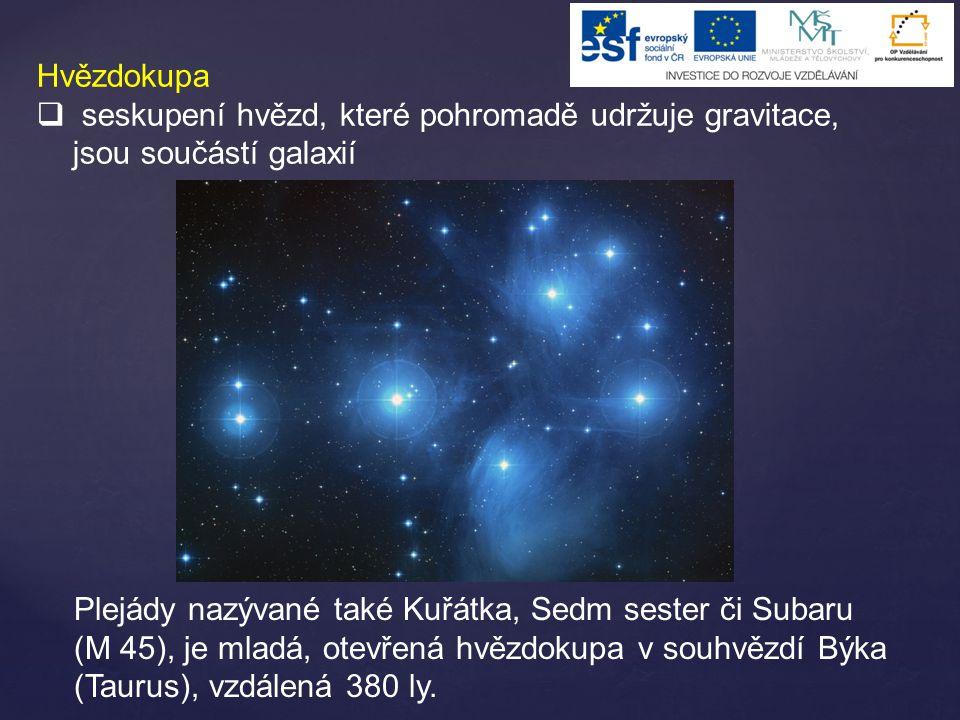 Hvězdokupa seskupení hvězd, které pohromadě udržuje gravitace, jsou součástí galaxií.
