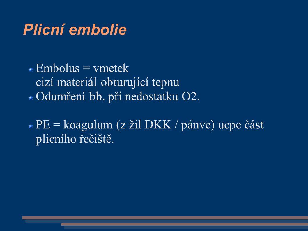 Plicní embolie Embolus = vmetek cizí materiál obturující tepnu