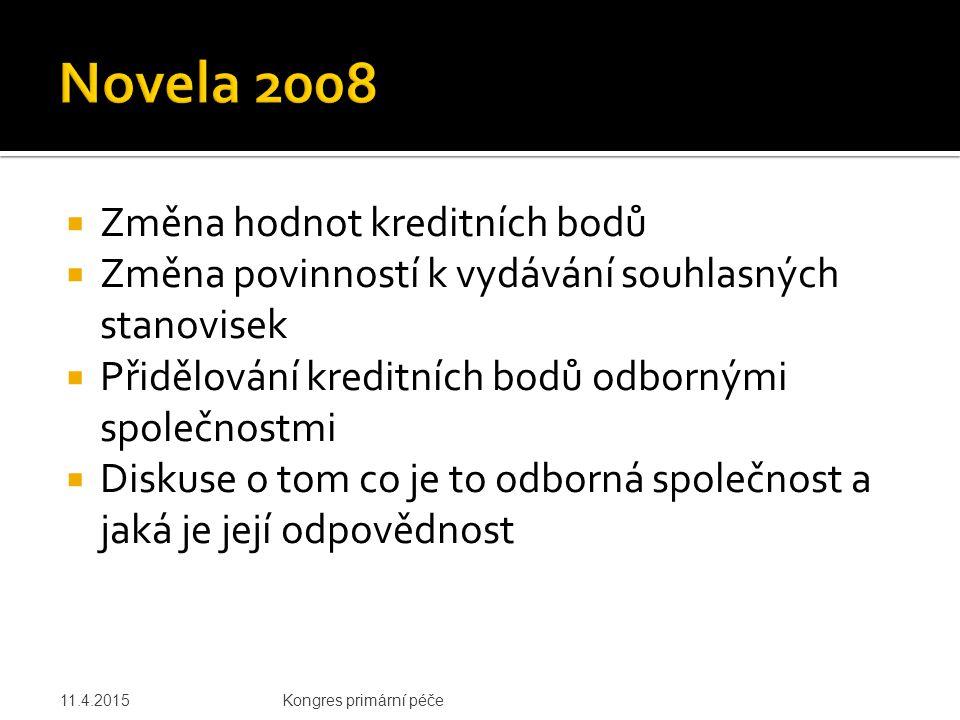 Novela 2008 Změna hodnot kreditních bodů