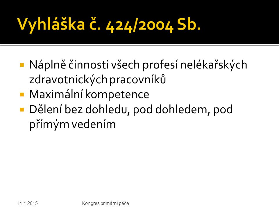 Vyhláška č. 424/2004 Sb. Náplně činnosti všech profesí nelékařských zdravotnických pracovníků. Maximální kompetence.