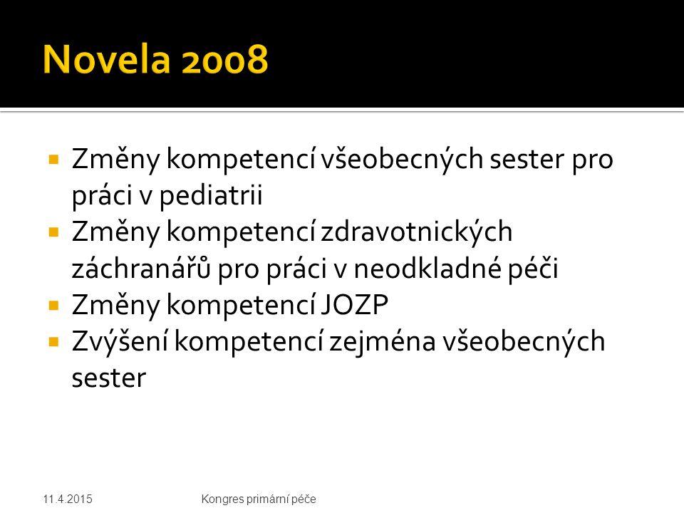 Novela 2008 Změny kompetencí všeobecných sester pro práci v pediatrii