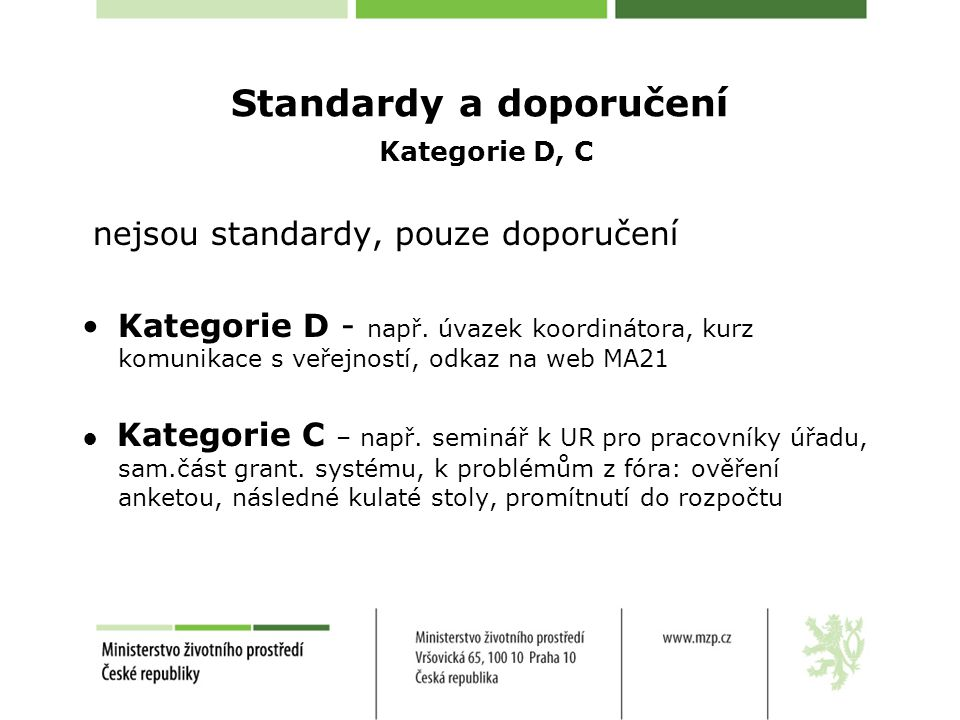 Standardy a doporučení Kategorie D, C