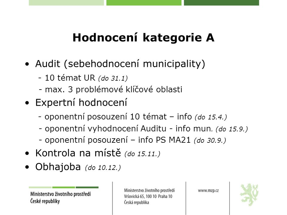 Hodnocení kategorie A Audit (sebehodnocení municipality)