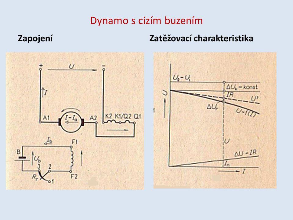 Dynamo s cizím buzením Zapojení Zatěžovací charakteristika