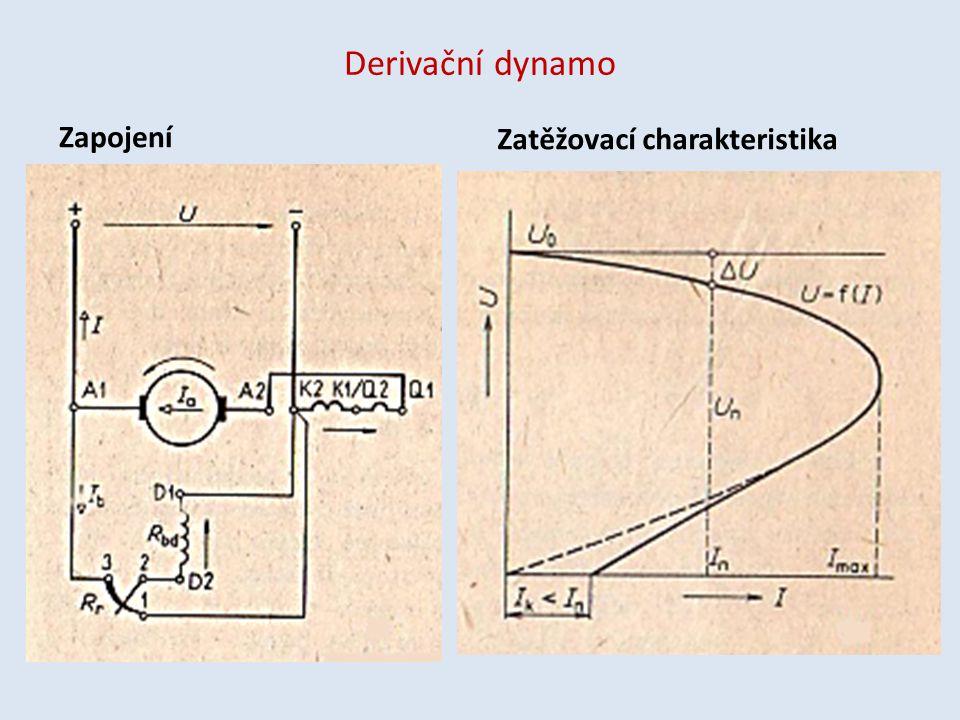 Derivační dynamo Zapojení Zatěžovací charakteristika