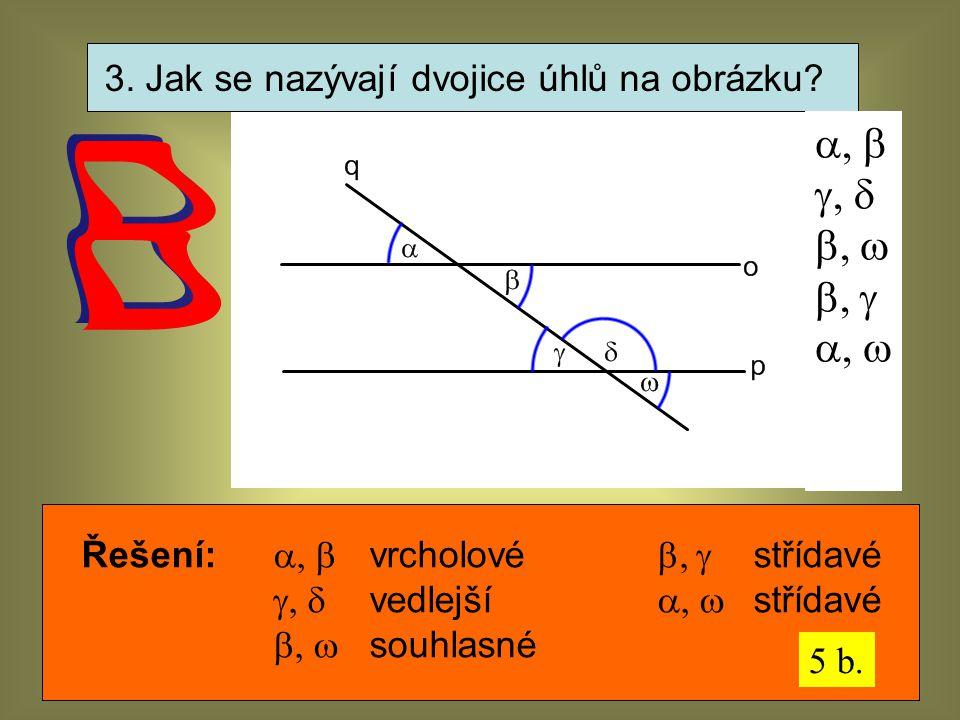 3. Jak se nazývají dvojice úhlů na obrázku