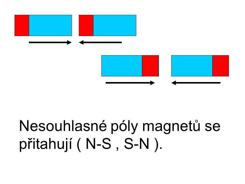 Nesouhlasné póly magnetů se přitahují ( N-S , S-N ).