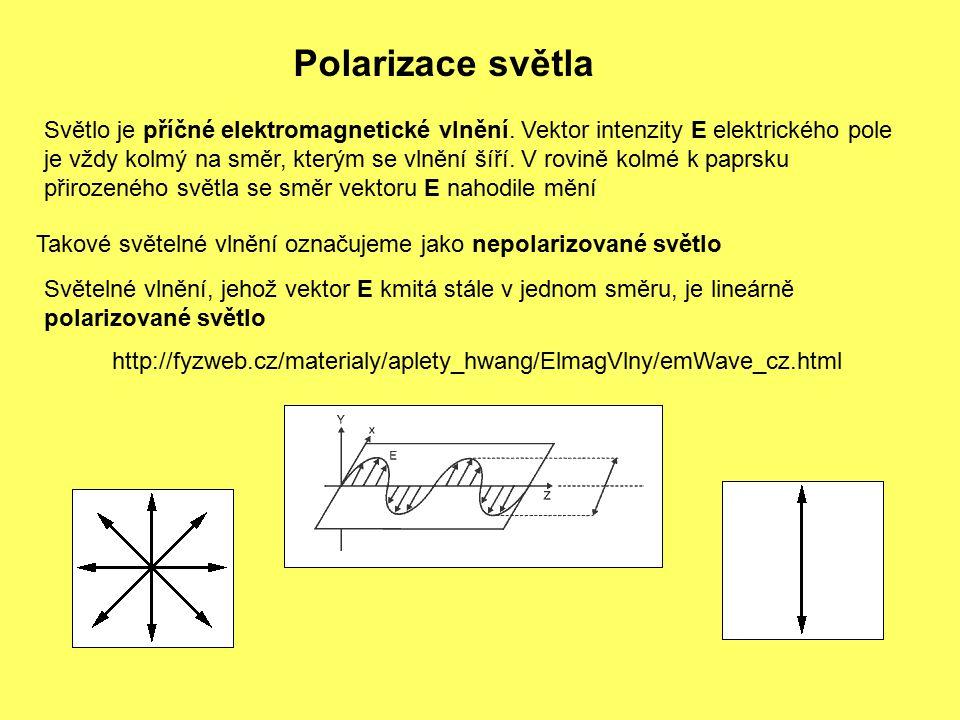 Polarizace světla Světlo je příčné elektromagnetické vlnění. Vektor intenzity E elektrického pole.
