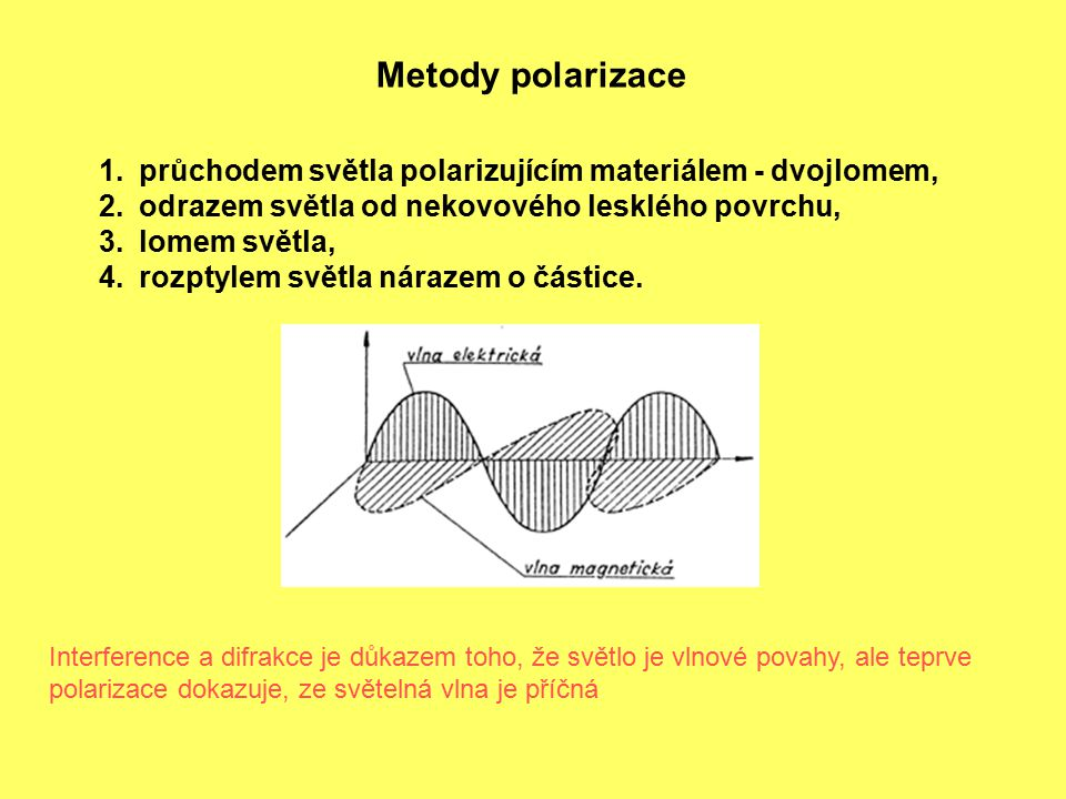 Metody polarizace průchodem světla polarizujícím materiálem - dvojlomem, odrazem světla od nekovového lesklého povrchu,