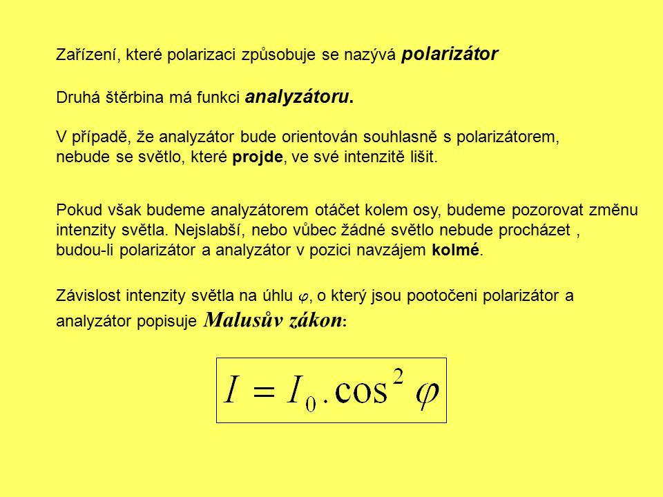Zařízení, které polarizaci způsobuje se nazývá polarizátor