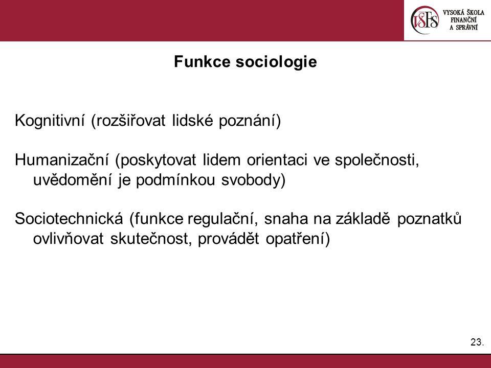 Funkce sociologie Kognitivní (rozšiřovat lidské poznání) Humanizační (poskytovat lidem orientaci ve společnosti, uvědomění je podmínkou svobody)