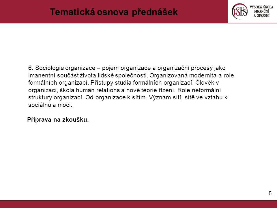 Tematická osnova přednášek