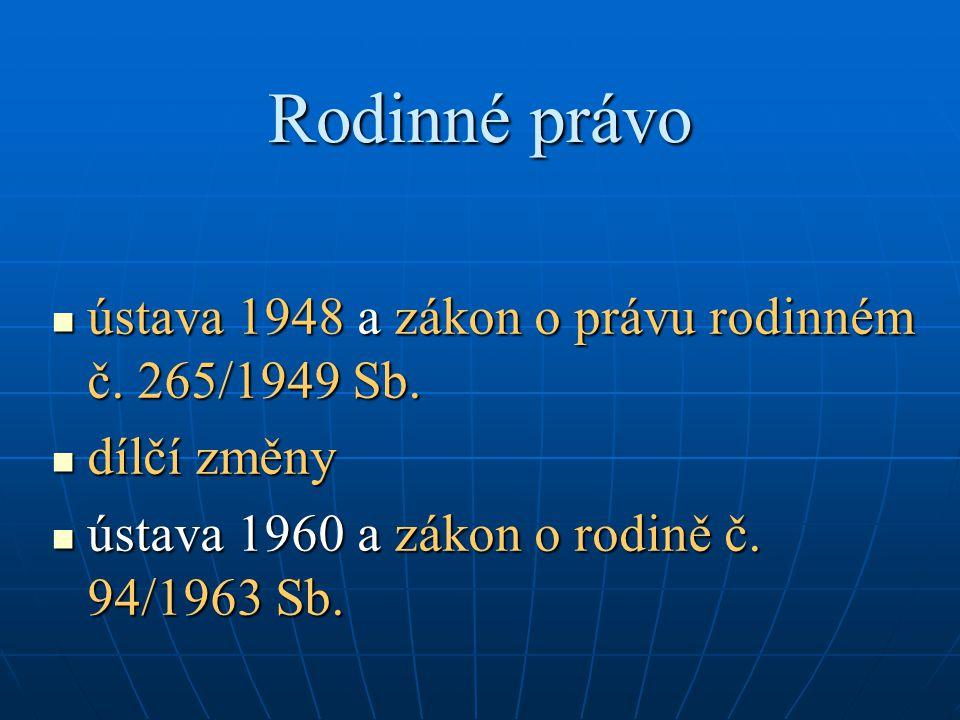 Rodinné právo ústava 1948 a zákon o právu rodinném č. 265/1949 Sb.