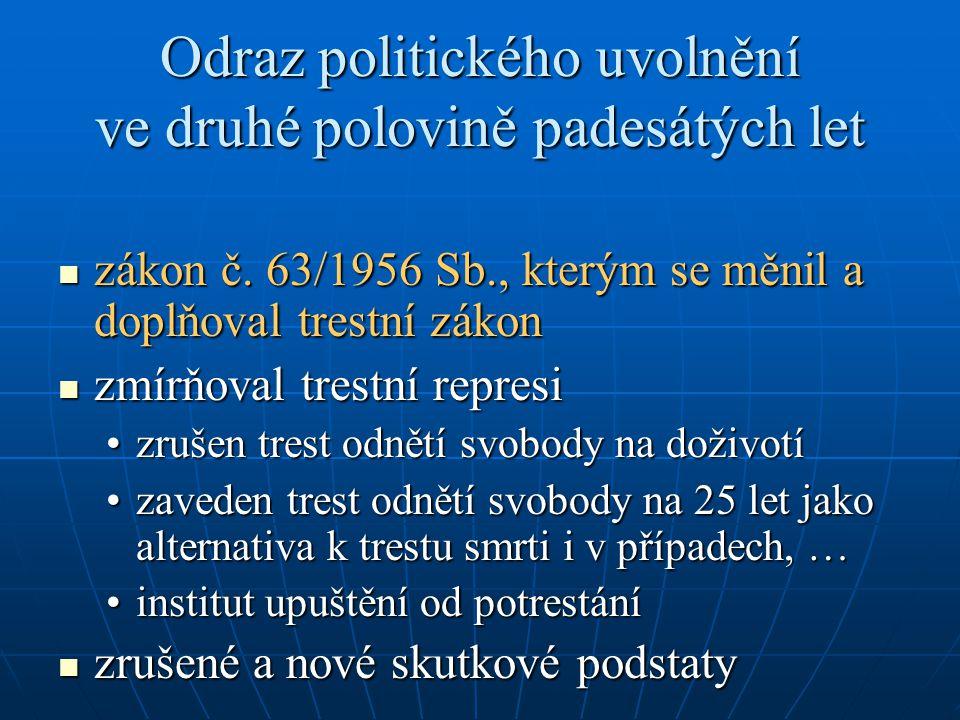 Odraz politického uvolnění ve druhé polovině padesátých let