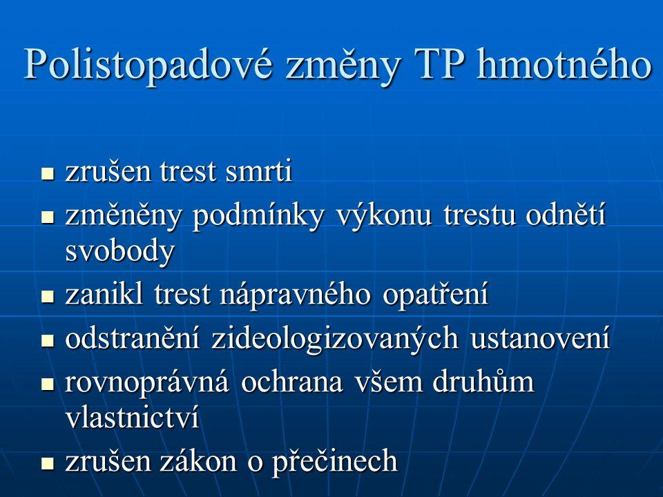 Polistopadové změny TP hmotného