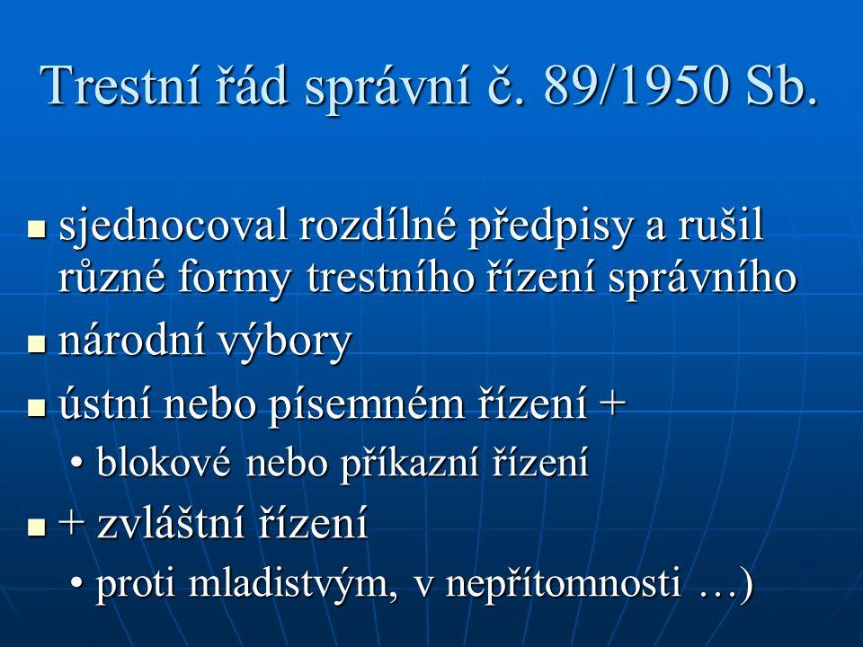 Trestní řád správní č. 89/1950 Sb.