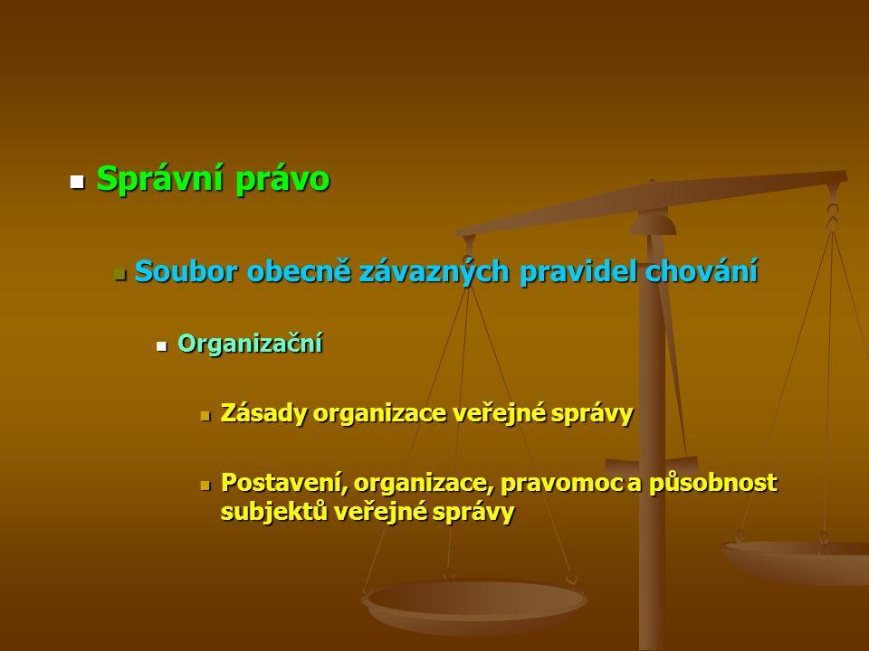 Správní právo Soubor obecně závazných pravidel chování Organizační