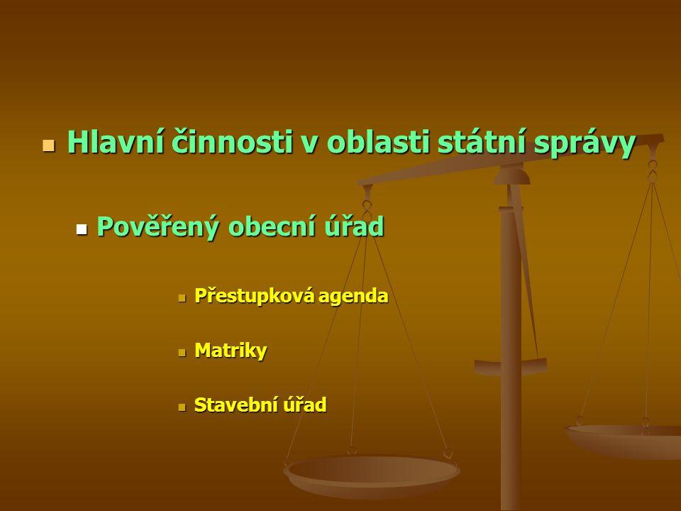 Hlavní činnosti v oblasti státní správy