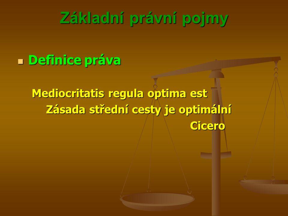 Základní právní pojmy Definice práva Mediocritatis regula optima est
