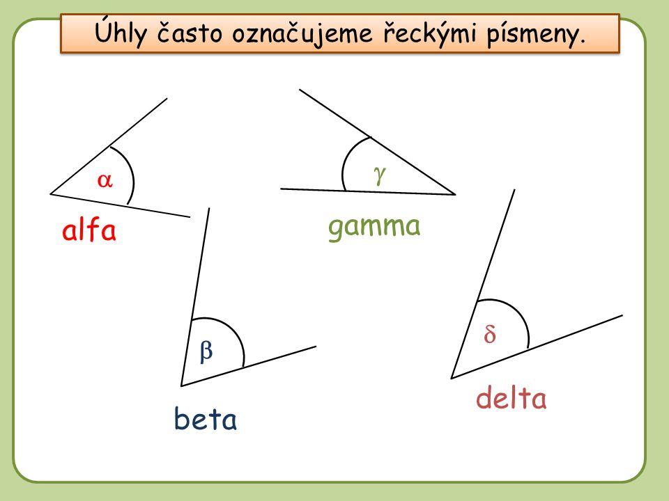 Úhly často označujeme řeckými písmeny.