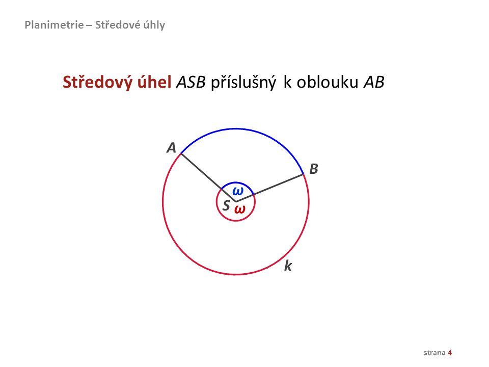 Středový úhel ASB příslušný k oblouku AB