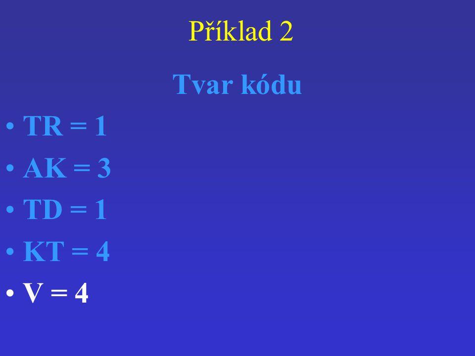 Příklad 2 Tvar kódu TR = 1 AK = 3 TD = 1 KT = 4 V = 4